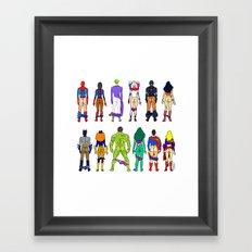 Superhero Power Couple Butts Framed Art Print