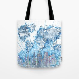 world map city skyline 5 Tote Bag