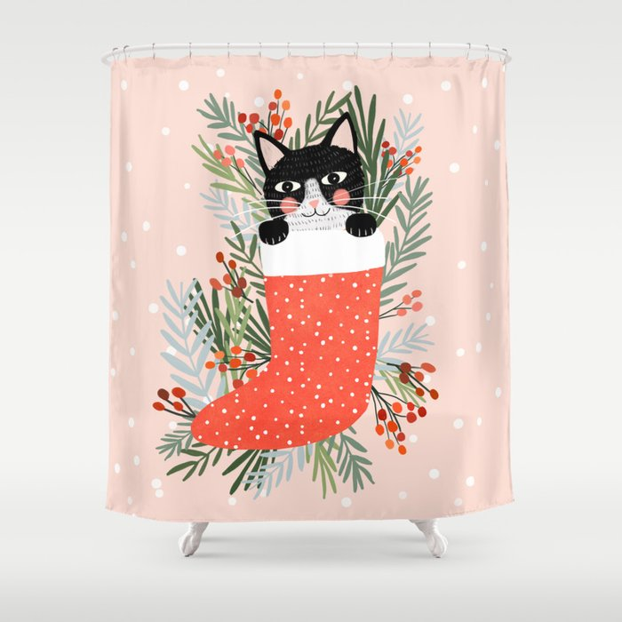 Christmas Shower Curtain.Cat On A Sock Holiday Christmas Shower Curtain By Miacharro