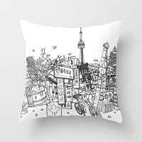 toronto Throw Pillows featuring Toronto! by David Bushell