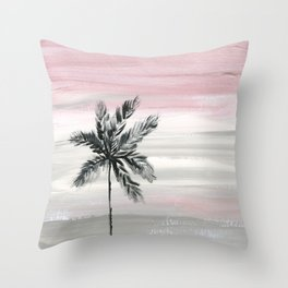 palm tree silhouette mauve sunset sky Throw Pillow