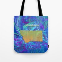 montana Tote Bags featuring Montana Map by Roger Wedegis