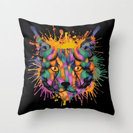 Lynx Face Color Splashes Throw Pillow