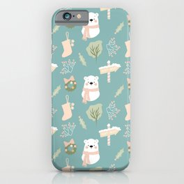 Polar Bear Holiday Print Merry + Bright iPhone Case