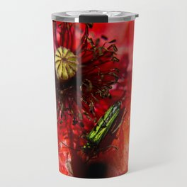 Little green insect while he's walking on a poppy Travel Mug