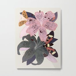 Lilies and butterflies insects Metal Print