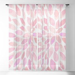 Watercolor brush strokes - pastel pink Sheer Curtain