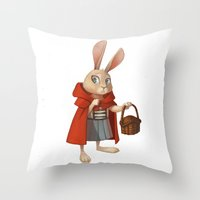 red riding hood Throw Pillows featuring Little Red Riding Hood by Alyssa Tallent