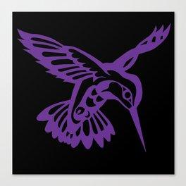 Hummingbird purple on black Canvas Print