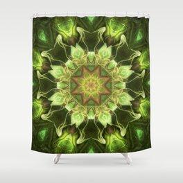 Planet Tree - Green Fractal Mandala - Manafold Art Shower Curtain