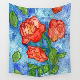 Peachy Colored Roses Wall Tapestry