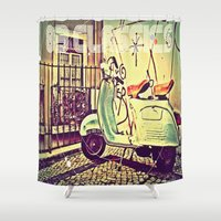 vespa Shower Curtains featuring vespa by The83juice