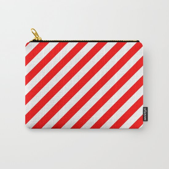 Diagonal Stripes (Red/White) Carry-All Pouch