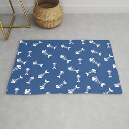 Blue and white fishbone pattern Rug