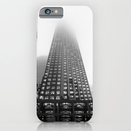 Black and white Foggy Toronto city photography iPhone Case