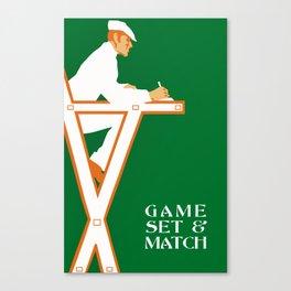 Game set and match retro tennis referee Canvas Print