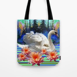 Swan Island &, Peach-Pink Water Lillies Tote Bag