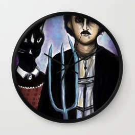 Edgar Allen Poe and Black Cat Wall Clock