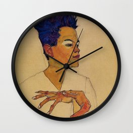 SELF PORTRAIT WITH HANDS ON CHEST - EGON SCHIELE Wall Clock