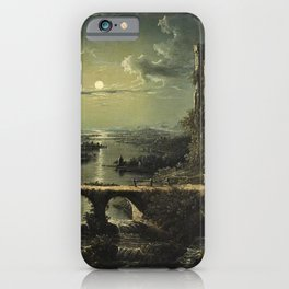 Classical Masterpiece 'A Ruined Gothic Church beside a River by Moonlight' by Sebastian Pether iPhone Case