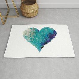 Love - Aqua Sea Glass Heart Rug