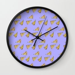 Yummy Pizza and Pepperoni Foodie Watercolor Pattern Wall Clock