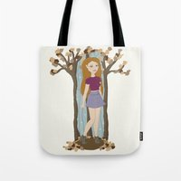 lydia martin Tote Bags featuring Autumn Lydia by tashaliz