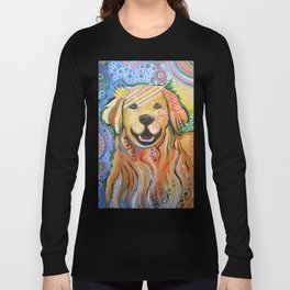 Max ... Abstract dog art, Golden Retriever, Original animal painting Long Sleeve T-shirt