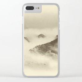 Mountain light BW. Foggy monochrome sunrise Clear iPhone Case