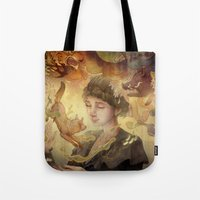 silent Tote Bags featuring Silent Visions by Corinne Reid