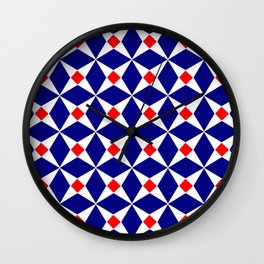 Symmetric patterns 132 red and dark blue Wall Clock