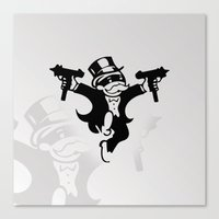 gangster Canvas Prints featuring Monopoly Gangster by Grime Lab