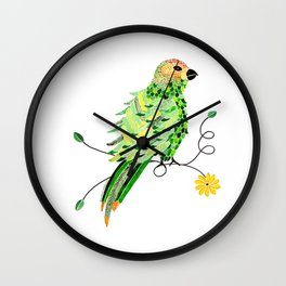 Bird of Costa Rica, parakeet Wall Clock