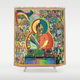 Life of Buddha - 7. Enlightenment and teaching  Shower Curtain