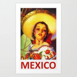 Vintage Mexico Travel Poster Art Print