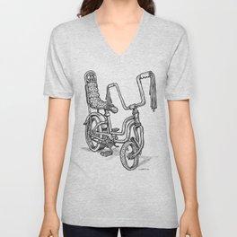 'Slicks R 4 Chicks' - Girls Mod Stingray Muscle Bike Cartoon Retro Bicycle Unisex V-Neck