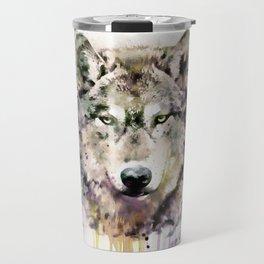 Wolf Head Watercolor Portrait Travel Mug