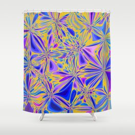 FREESIA bright summer colours in abstract floral dragonfly pattern Shower Curtain