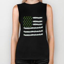 USA Weed Flag American Flag Weed T-Shirt Funny 4:20 Shirt Biker Tank