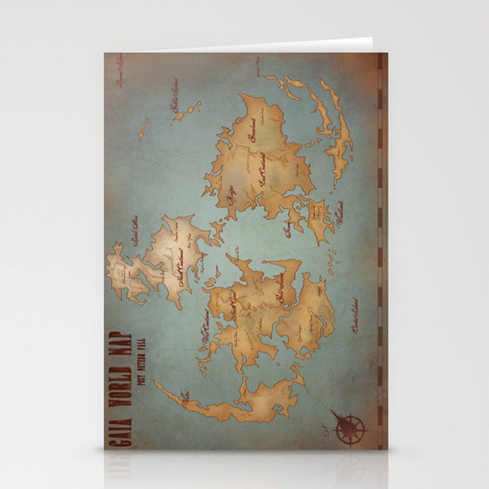 Gaia World Map Final Fantasy Vii Stationery Cards By Kazpalladino