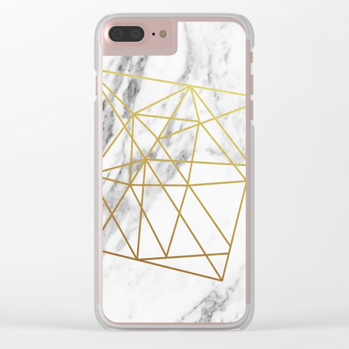 Gold geometric marble Clear iPhone Case