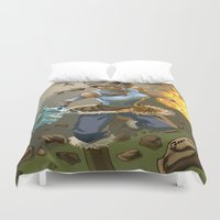 legend of korra Duvet Covers featuring The Legend Of Korra by Fran Agostinelli
