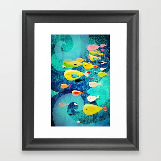 Underwater Swirls Surfing the waves Framed Art Print