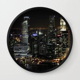 city at night lights skyline Wall Clock