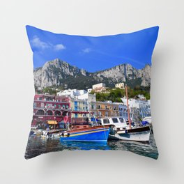 The Beach in Capri, Italy Throw Pillow