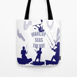 Wake Up Seas The Day Kiteboarder In Blue Shades Tote Bag