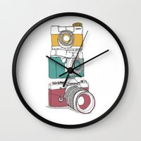 cameras Wall Clocks featuring Stacked Cameras by Benjamin.draws