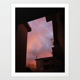 Pink Sunset - Spot the Face Art Print