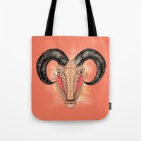 aries Tote Bags featuring Aries by Vibeke Koehler