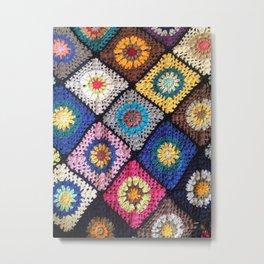 made with love crochet rainbow granny rug Metal Print